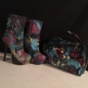 Michael Kors purse women's high heel boots